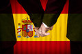 Same sex marriage in spain two gay men stand hand hand before a altar featuring an overlay of the flag colors of having just been Stock Photography