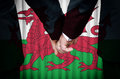 Same sex marriage in wales two gay men stand hand hand before a altar featuring an overlay of the flag colors of having just been Stock Photo