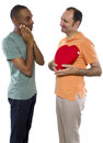 Same sex valentines younger black male with older russian gay lover on day Royalty Free Stock Photos