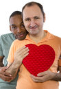 Same sex valentines younger black male with older russian gay lover on day Stock Image