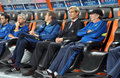 Sami hyypia and his assistants photo was taken during the match between shakhtar donetsk ukraine bayer leverkusen germany uefa Stock Photos