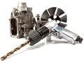 Samochód repair details pompa wysokość ciśnieniowy i lotniczy świder na białym tle Fotografia Royalty Free