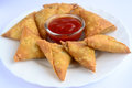 Samosa indian spicy snack prepared from potatoes a common street snack in northern india Stock Image