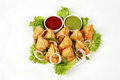 Samosas with salad and dips leafy green onion rings selection of white background Stock Image
