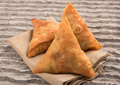 Samosas a spicy blend of vegetables or meat Royalty Free Stock Photo