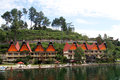 Samosir island row of traditional batak houses on the indonesia Royalty Free Stock Images