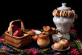 Samovar, bagels and apples on table Stock Photo