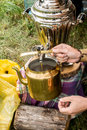 Samovar and old copper kettle Royalty Free Stock Photo
