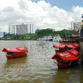 Sampan ride at kuching waterfront there are three jetties where the sampans can pick up passengers along the the most popular one Stock Images