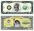Sample banknote of a million dollars green Stock Images
