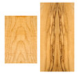 Sample of curly maple and olive wood rough european on a white background Royalty Free Stock Photo