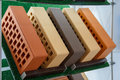 Samples of bricks at the exhibition stand Royalty Free Stock Photo