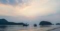 Samroiyod Beach,Thailand ,fishing boats on the sea, background Royalty Free Stock Photo