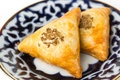 Samsa is baked pastry with meat filling Royalty Free Stock Photo