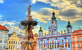 Samson Fountain in Ceske Budejovice Czech Republic Royalty Free Stock Photo