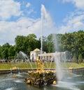 Samson fountain in Peterhof Royalty Free Stock Photo