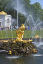 Samson tearing the lion s mouth the sculpture of the big cascade fountain peterhof russia saint petersburg july Royalty Free Stock Photography