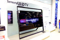 Samsung uhdtv television in store smart ultra high definition d tv on display for sale Royalty Free Stock Photos