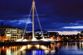 Samuel beckett bridge dublin a cable stayed by architect santiago calatrava opening for maintenance at night time on august in Stock Photography
