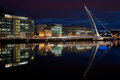 Samuel Beckett Bridge, Dublin, Ireland at night Royalty Free Stock Photo