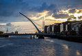 Samuel Beckett Bridge over Liffey river in Dublin, Ireland. Royalty Free Stock Photo