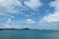 Samui island seascape with puffy white clouds over blue sky and sea thailand Stock Image