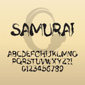 Samurai abstract japanese brush font and numbers eps vector editable Stock Photo