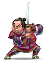 Samurai angry with a sword drawing Stock Images