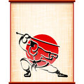 Samurai background parchment katana fighting stance ink silhouette