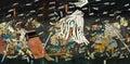Samurai battle on Japanese Traditional painting Royalty Free Stock Photo