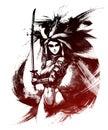 Samurai girl with katana