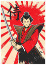 Samurai vintage poster vector of Royalty Free Stock Photography
