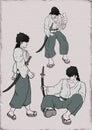 Samurai warrior illustration Royalty Free Stock Photo