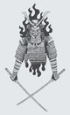 Samurai warrior illustration of holding sword Stock Photos