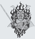 Samurai warrior illustration of holding sword Royalty Free Stock Photography