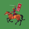 Samurai Warrior Riding Horse with Sword, Vector illustration Royalty Free Stock Photo