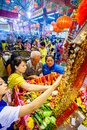 Samutsakhon thailand may unidentified people worship during celebration in city pillar shrine chinese temple on in Stock Images