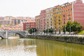 San anton bridge and nervion river in bilbao spain Royalty Free Stock Image