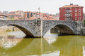 San anton bridge and nervion river in bilbao spain Royalty Free Stock Photography