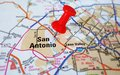 San antonio closeup of a map with tack Stock Photo
