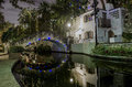 San antonio at night a picture from texas taken during the river walk theatre Royalty Free Stock Photo