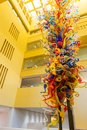 SAN ANTONIO, TEXAS - MARCH 26, 2018 - San Antonio Central Library lobby with glass sculpture `Fiesta Tower` designed by Dale Chihu