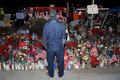 SAN BERNARDINO, CA. DECEMBER 17, 2015, A makeshift memorial at the Inland Regional Center (IRC) in San Bernardino, CA. San Bernard Royalty Free Stock Photo