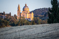 San biagio church at sunset outside montepulciano tuscany the renaissance sunlit italy Royalty Free Stock Image