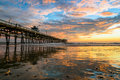 San Clemente Pier with Cloud Reflections Royalty Free Stock Photo