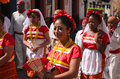 San cristobal de las casas mexico december women in t traditional chiapas dress walking outdoors Stock Photo
