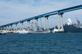 San Diego bay with navy ships and Coronado Bay Bridge Royalty Free Stock Photo