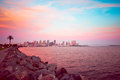 San diego california skyline and bay at dusk Stock Photography