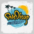 San Diego California Surfing Surf Design Hand Drawn Lettering Type Logo Sign Label for Promotion Ads t shirt or stick Royalty Free Stock Photo