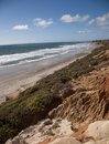 San diego county beaches in the northern town of carlsbad looking up towards orange the view of famous california surf and sand Stock Photo
